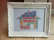 House Warming New Home Personalised Gift Moving In Present Word Art - Any Colour
