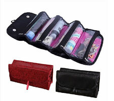 Cosmetics Organiser Makeup Bag Toiletries Pockets Compartment Travel Roll N Go