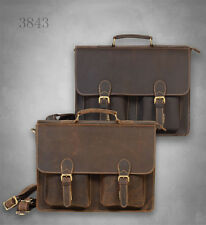 New Men's vintage genuine leather messenger shoulder bag briefcase