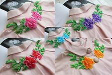 4PCS Embroidered Color Flower Diy Crafts Patch Iron or Sew Appliques 9cmX19.5cm