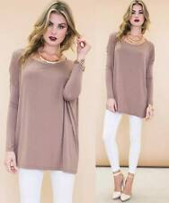 Taupe Long Sleeve Boat Neck Piko Bamboo Oversized Boxy Loose Tunic Top Cute NWT