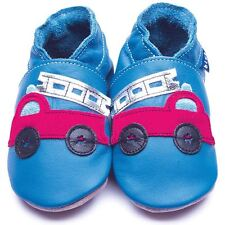 Inch Blue Baby Boys Luxury Leather Soft Sole Pram Shoes - Firetruck Blue & Red