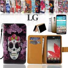 Folio Flip Wallet Card Stand Leather Case Cover For Various LG Phones +handstrap