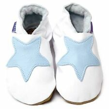 Inch Blue Girls Boys Luxury Leather Soft Sole Baby Shoes - Starry White & Blue