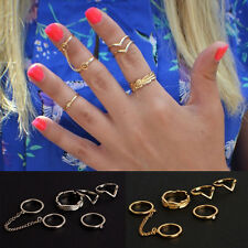 6PCS/Set Fashion Korea Urban stack Plain Cute Above Knuckle chain Ring Rings