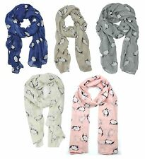 Ladies Womens Colourful Scarf with Penguin Print Wraps Shawl Soft Scarves sc59