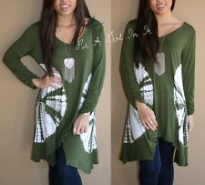 SWEET PLUS SIZE OLIVE GREEN & WHITE TIE DYE DYED RUCHED SHIRT TUNIC TOP 1X 2X 3X