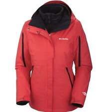 COLUMBIA WOMENS 3 IN 1 BUGABOO INTERCHANGE SKi COAT JACKET REMOVABLE  LINER RED