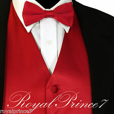 FIRE RED Solid Tuxedo Suit Vest Waistcoat and STRAGHT CUT Bow Tie Wedding Party