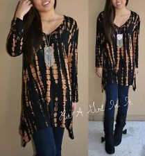 PLUS SIZE BLACK BROWN BAMBOO TIE DYE DYED LONG SLEEVE SHIRT TUNIC TOP 1X 2X 3X