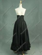 Victorian Edwardian Black High-Waisted Pleated Period Walking Skirt Reenact K035