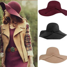 New Vintage Women Lady Wool Felt Floppy Wide Brim Fedora Bowler Cloche Hat Cap