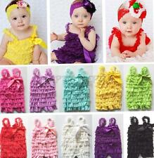 New Baby Girls Lace Bowknot Ruffles One-Piece Petti Romper Jumpsuit 3-24 Months