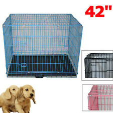 "42"" Dog Cage Pet Puppy Training Crate Travel Carrier Foldable Metal Extra Large"