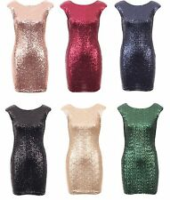 New Womens Evening Sexy Party Club Sequin Embellished Bodycon Fitted Dress