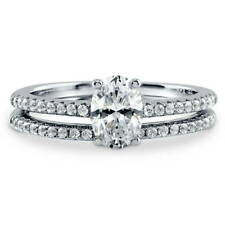 BERRICLE Sterling Silver Oval CZ Solitaire Engagement Wedding Ring Set