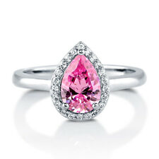 BERRICLE Sterling Silver Pear Pink CZ Halo Promise Engagement Ring 1.44 Carat
