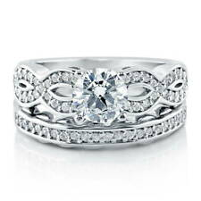BERRICLE Sterling Silver Round CZ Woven Solitaire Engagement Wedding Ring Set