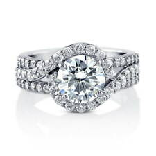 BERRICLE Sterling Silver Round Cut CZ Halo Engagement Ring 2.92 Carat
