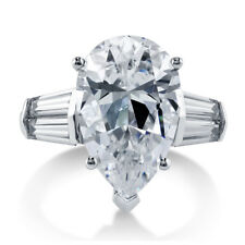 BERRICLE Sterling Silver Pear Cut CZ Solitaire Engagement Ring 8.85 Carat