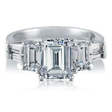 BERRICLE Sterling Silver 3.89 Carat Emerald Cut CZ 3-Stone Engagement Ring