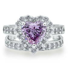 Silver Heart Shaped Purple Cubic Zirconia CZ Halo Engagement Ring Set 2.82 CT