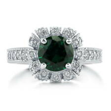 Silver Simulated Emerald CZ Crown Halo Milgrain Art Deco Engagement Ring 2.43 CT