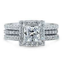 BERRICLE Sterling Silver 2.36 ct.tw Princess CZ Halo Engagement Wedding Ring Set