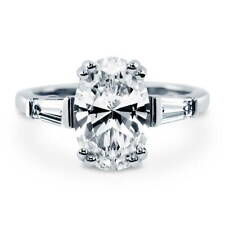 BERRICLE Sterling Silver 3.23 ct.tw Oval CZ Solitaire Engagement Wedding Ring