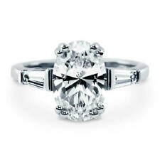 BERRICLE Sterling Silver Oval Cut CZ Solitaire Engagement Ring 3.23 Carat