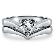 Silver Heart Shaped Cubic Zirconia CZ Solitaire Engagement Ring Set 0.93 CT