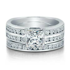 BERRICLE Sterling Silver Princess CZ Solitaire Engagement Ring Set 2.46 Carat