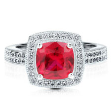 BERRICLE Silver 2.35 Carat Cushion Simulated Ruby CZ Halo Promise Cocktail Ring