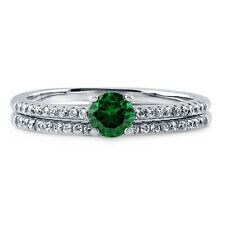 BERRICLE Sterling Silver Round Green CZ Solitaire Engagement Wedding Ring Set