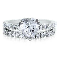 BERRICLE 925 Silver Heart Shaped CZ Solitaire Engagement Ring Set 2.31 Carat