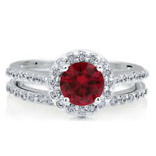 BERRICLE Sterling Silver Simulated Ruby CZ Halo Engagement Ring Set 1.65 Carat