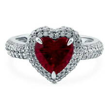 BERRICLE Silver Heart Shaped Simulated Ruby CZ Halo  Engagement Ring 2.45 Carat
