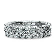 BERRICLE Sterling Silver Round CZ Anniversary Eternity Band Ring 4.4 Carat