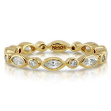 BERRICLE Gold Flashed Sterling Silver CZ Eternity Band Ring 0.92 Carat