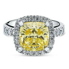 BERRICLE 925 Silver Cushion Canary Yellow CZ Halo Engagement Ring 4.11 Carat