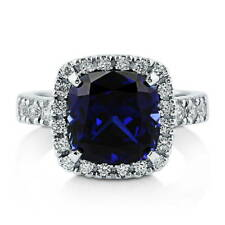 BERRICLE Sterling Silver Cushion Simulated Blue Sapphire CZ Halo Cocktail Ring