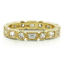BERRICLE Gold Plated Sterling Silver Baguette CZ Art Deco Eternity Band Ring