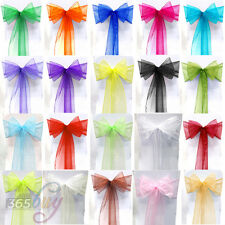 50pcs Chair Cover Sash Bow Sheer Organza Sashes Wedding Party Banquet Decoration