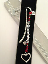 PERSONALISED VALENTINES DAY GIFT GLASS BEADED BOOKMARK ANY WORDING WITH BOX