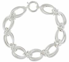 Hand-made Textured Double Oval Link Bracelet REAL 925 Sterling Silver QVC
