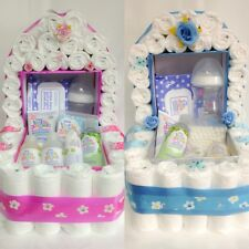 Boy or Girl Moses Basket/Crib Nappies-Nappy Cake- Baby Shower/New Baby Gift