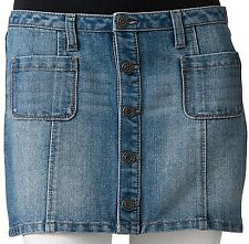 SO Juniors Button Front Denim Skirt