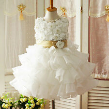 Ivory Flower Girl Dress Scoop Wedding Pageant Party Formal Occasion Dress FT198