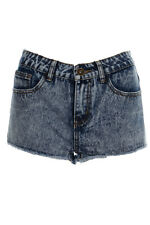 womens Blue Acid Wash Frayed Denim High Waisted Hotpants High Leg Shorts