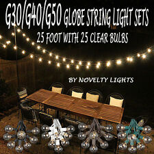 25 Foot Outdoor Globe Patio String Lights - Set of 25 G50/G40/G30 Clear Bulbs